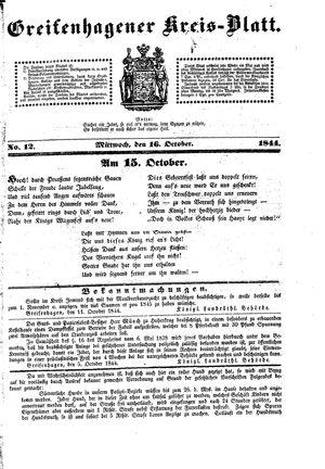 Greifenhagener Kreisblatt vom 16.10.1844