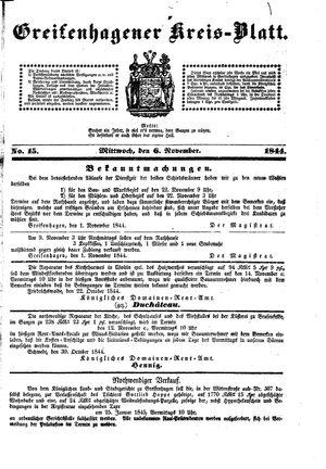 Greifenhagener Kreisblatt vom 06.11.1844