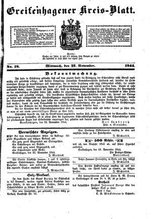 Greifenhagener Kreisblatt vom 27.11.1844