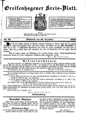 Greifenhagener Kreisblatt on Dec 18, 1844
