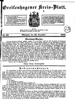 Greifenhagener Kreisblatt on Dec 25, 1844