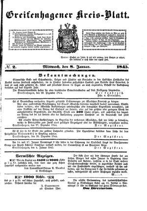 Greifenhagener Kreisblatt on Jan 8, 1845