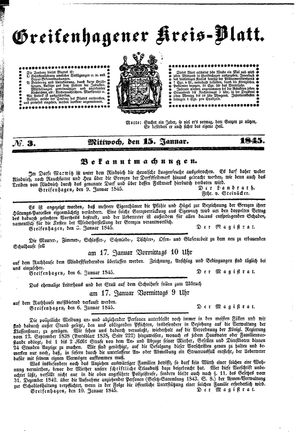 Greifenhagener Kreisblatt vom 15.01.1845