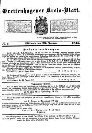 Greifenhagener Kreisblatt vom 29.01.1845