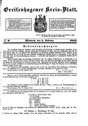 Greifenhagener Kreisblatt vom 05.02.1845