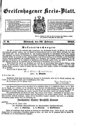 Greifenhagener Kreisblatt vom 19.02.1845
