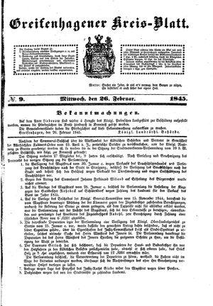 Greifenhagener Kreisblatt vom 26.02.1845