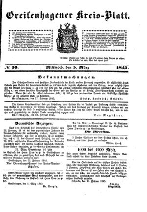 Greifenhagener Kreisblatt vom 05.03.1845