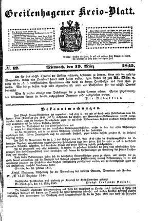 Greifenhagener Kreisblatt vom 19.03.1845