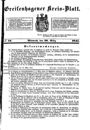 Greifenhagener Kreisblatt vom 26.03.1845