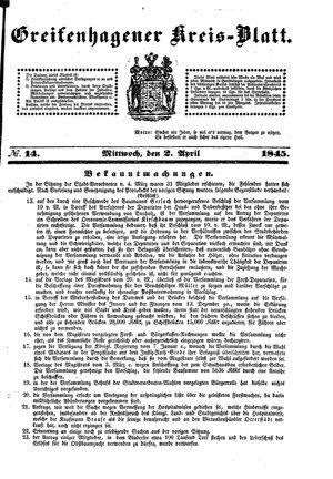 Greifenhagener Kreisblatt vom 02.04.1845