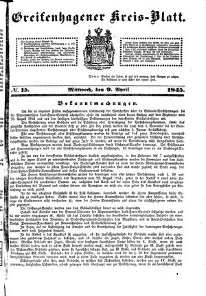Greifenhagener Kreisblatt vom 09.04.1845