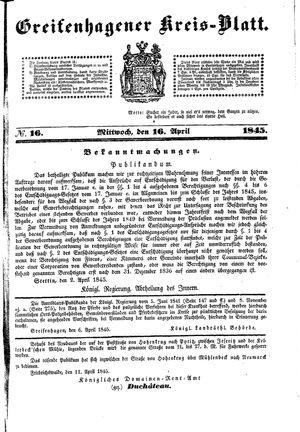 Greifenhagener Kreisblatt vom 16.04.1845