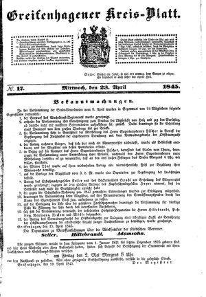 Greifenhagener Kreisblatt on Apr 23, 1845