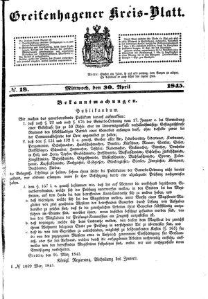 Greifenhagener Kreisblatt vom 30.04.1845