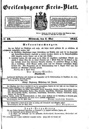 Greifenhagener Kreisblatt vom 07.05.1845