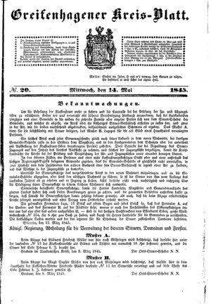 Greifenhagener Kreisblatt on May 14, 1845
