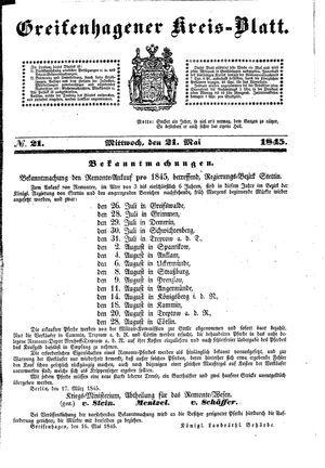 Greifenhagener Kreisblatt on May 21, 1845