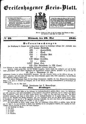Greifenhagener Kreisblatt vom 28.05.1845