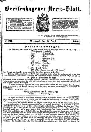 Greifenhagener Kreisblatt vom 04.06.1845