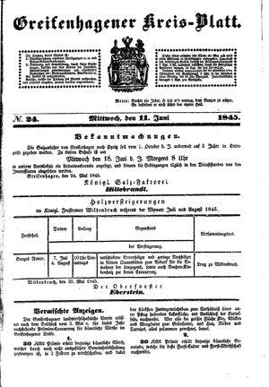Greifenhagener Kreisblatt vom 11.06.1845