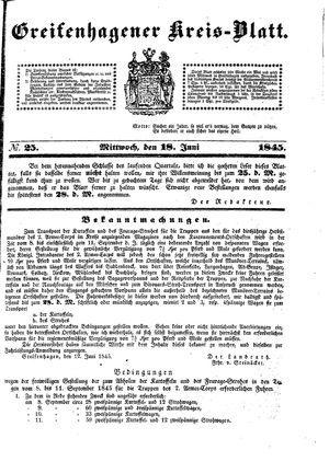 Greifenhagener Kreisblatt on Jun 18, 1845