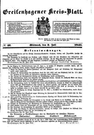 Greifenhagener Kreisblatt vom 02.07.1845