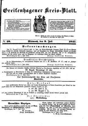Greifenhagener Kreisblatt vom 09.07.1845