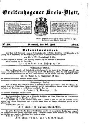 Greifenhagener Kreisblatt vom 16.07.1845