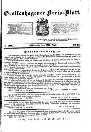 Greifenhagener Kreisblatt vom 23.07.1845