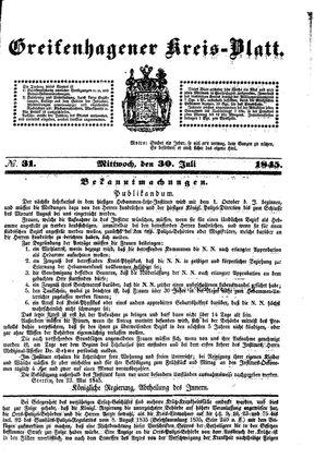 Greifenhagener Kreisblatt vom 30.07.1845