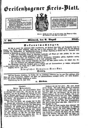 Greifenhagener Kreisblatt vom 06.08.1845