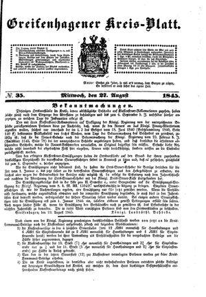 Greifenhagener Kreisblatt vom 27.08.1845