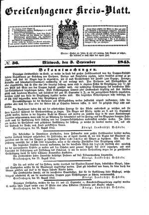 Greifenhagener Kreisblatt vom 03.09.1845