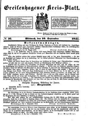 Greifenhagener Kreisblatt vom 10.09.1845
