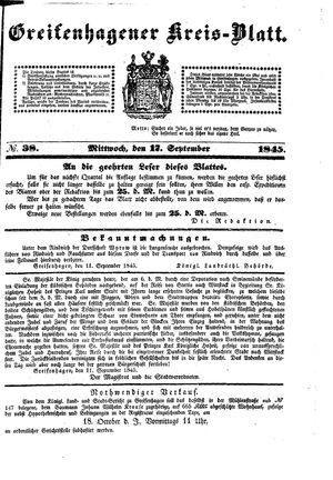 Greifenhagener Kreisblatt vom 17.09.1845