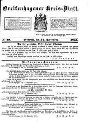 Greifenhagener Kreisblatt vom 24.09.1845
