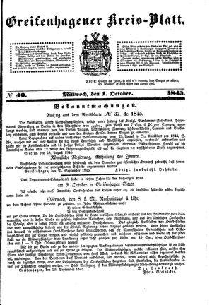 Greifenhagener Kreisblatt on Oct 1, 1845