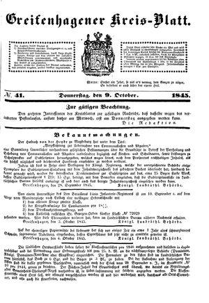 Greifenhagener Kreisblatt vom 09.10.1845