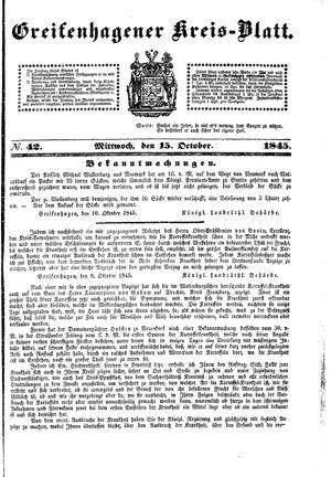 Greifenhagener Kreisblatt vom 15.10.1845