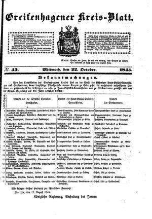 Greifenhagener Kreisblatt vom 22.10.1845