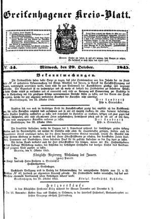 Greifenhagener Kreisblatt on Oct 29, 1845