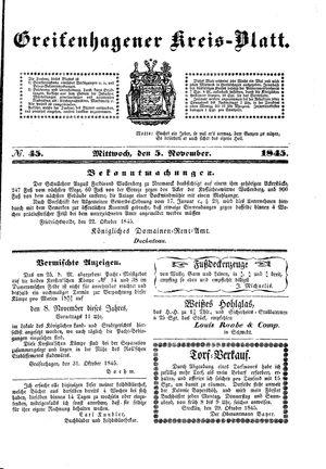 Greifenhagener Kreisblatt vom 05.11.1845