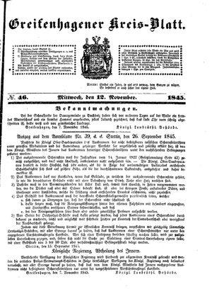 Greifenhagener Kreisblatt on Nov 12, 1845