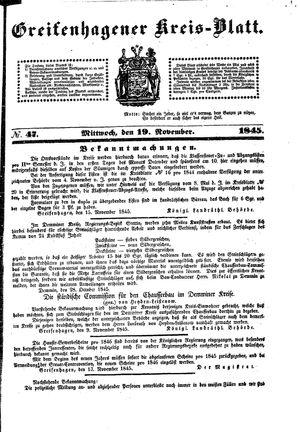 Greifenhagener Kreisblatt on Nov 19, 1845