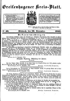 Greifenhagener Kreisblatt vom 26.11.1845