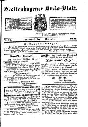 Greifenhagener Kreisblatt on Dec 3, 1845