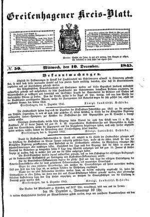 Greifenhagener Kreisblatt vom 10.12.1845