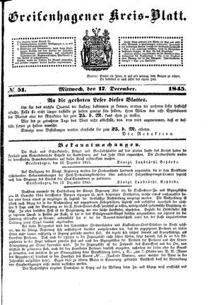 Greifenhagener Kreisblatt vom 17.12.1845
