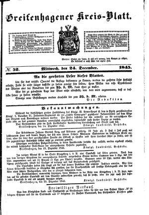 Greifenhagener Kreisblatt vom 24.12.1845